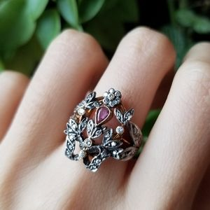 Antique vintage victorian gold ruby diamond ring